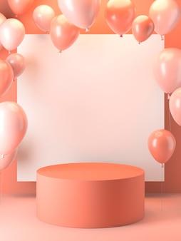 Rosa ballonanordnung mit bühne