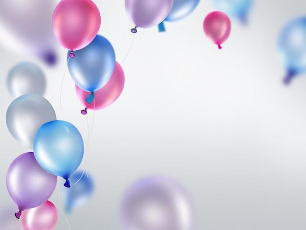 Rosa blaue und violette luftballons auf hellem hintergrund