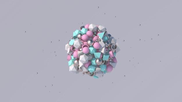 Rosa, blaue, weiße, metallische geometrische formen. abstrakte illustration,