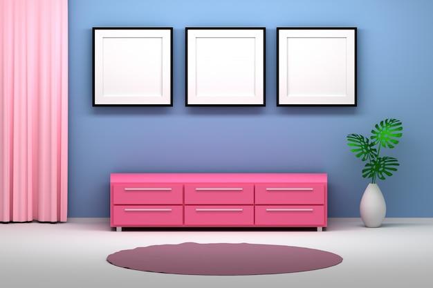 Rosa blauer inneninnenraum mit möbeln und fotorahmen