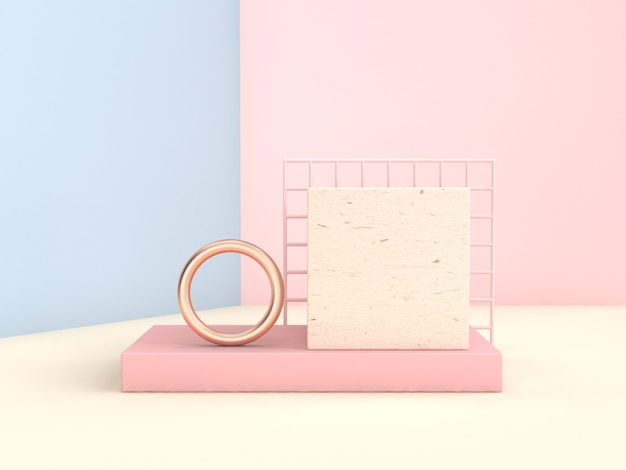 Rosa blaues 3d, das geometrische form der minimalen abstrakten pastellszene überträgt