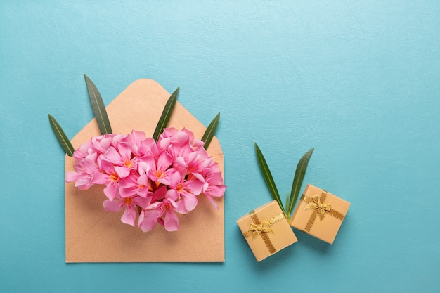 Rosa blume im umschlag mit geschenkbox auf blauem hintergrund.