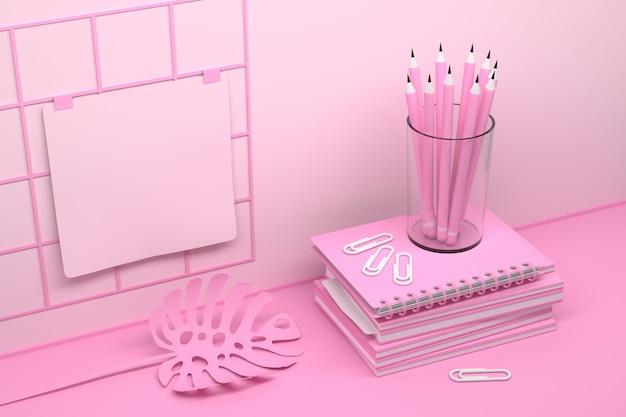 Rosa büroarbeitsplatzzusammensetzung mit motebooks und stiften