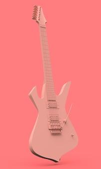 Rosa e-gitarre im stil des minimalen auf einem rosa hintergrund. 3d-rendering.
