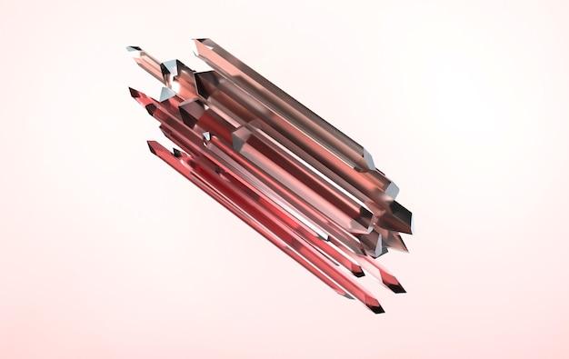 Rosa edelstein facettierter nuggetkristall 3d-rendering