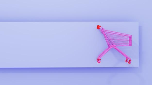 Rosa einkaufswagen auf blauem hintergrund. 3d-rendering