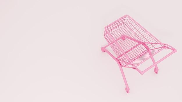 Rosa einkaufswagen auf weißem hintergrund. verkauf. 3d-rendering