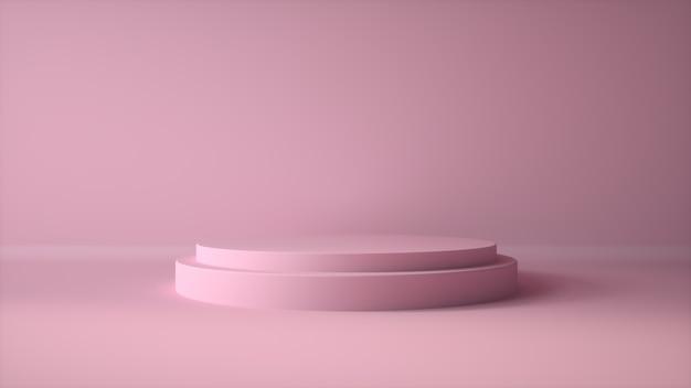 Rosa farbpodest der abstrakten geometrieform auf rosa farbhintergrund für produkt. minimales konzept.