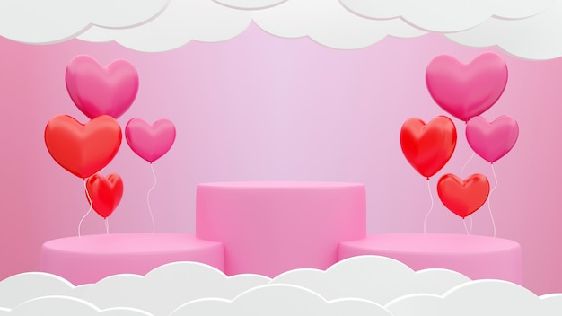 Rosa farbzylinderform des 3d-renderings, produktanzeigesockel und herzförmige ballons rosa pastellfarbenhintergrund, valentinstag-hintergrundkonzept