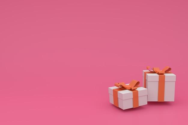 Rosa festliches, geburtstags-, neues jahr- oder weihnachtsplakat mit weißer geschenkbox 3d mit satinbogen. .