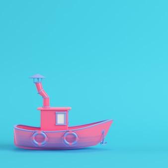 Rosa fischerboot auf hellblauem hintergrund in pastellfarben