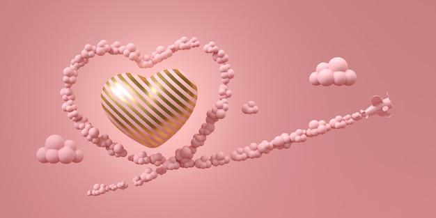 Rosa flugzeugfliege auf himmel mit rosa rauche in form des herzens, fliegend um gold und rosa streifenherz