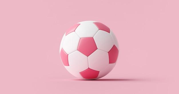 Rosa fußball oder fußball- und sportgeräte auf rosa pastellhintergrund mit klassischem frauenteam. 3d-rendering.