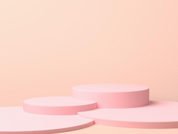Rosa geometrische 3d produktanzeige hintergrundkonzept, abstrakter podiumzylinder, kreisständer für kreative werbespots. 3d-rendering