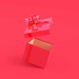 Rosa geschenkbox auf rosa hintergrund mit beschneidungspfad