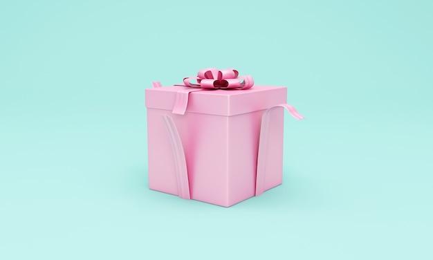 Rosa geschenkbox auf türkis