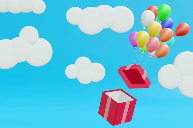 Rosa geschenkbox, die durch luftballons auf blauem pastellhintergrund, 3d-darstellung schwimmt.