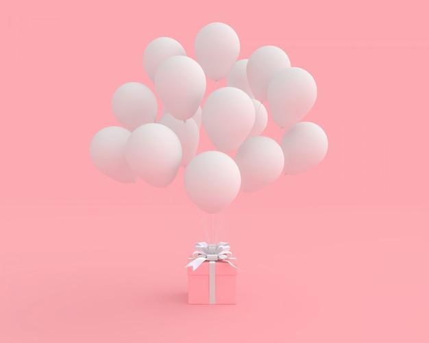 Rosa geschenkbox mit ballon auf rosa hintergrundvalentinsgrußkonzept.