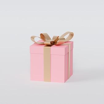 Rosa geschenkbox mit goldenem band auf weißem hintergrund, 3d-rendering