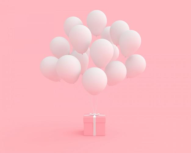 Rosa geschenkbox mit weißer farbe des ballons auf rosa hintergrund