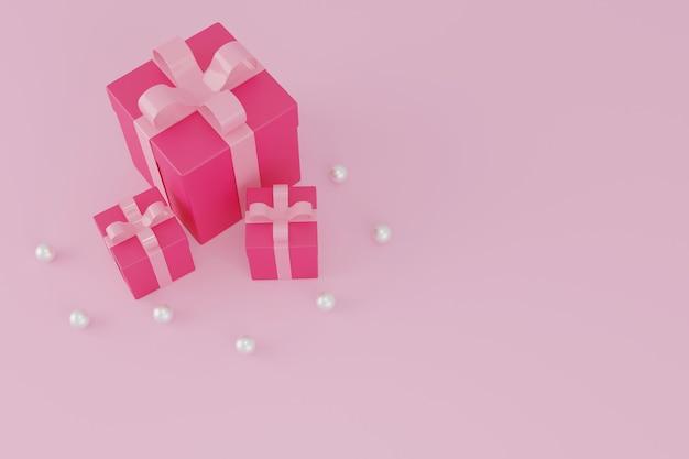 Rosa geschenkbox oder geschenkbox auf rosa hintergrund, valentinskonzept.3d-rendering.