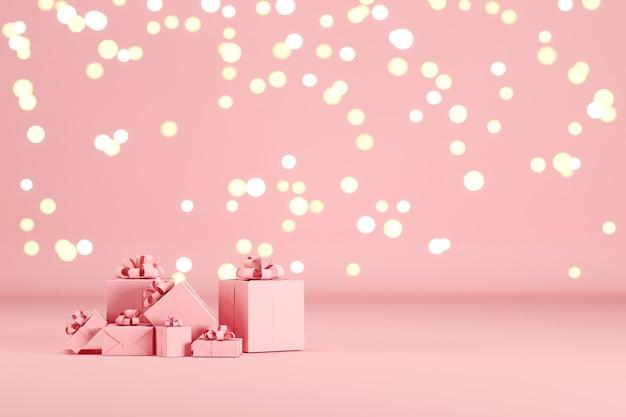Rosa geschenkbox set auf rosa farbe hintergrund mit beleuchtung bokeh hintergrund. 3d-rendering. minimales weihnachts-neujahrskonzept. selektiver fokus.