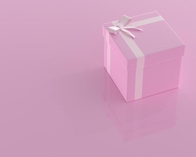 Rosa geschenkbox- und kopienraum für ihren text. minimales konzept 3d übertragen.