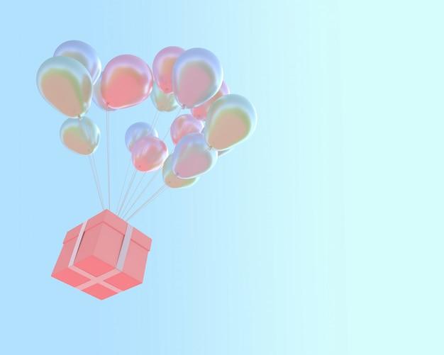 Rosa geschenkbox und luftballons pastellfarbe