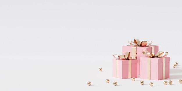 Rosa geschenkboxen mit goldenem band auf weißem hintergrund, 3d-rendering