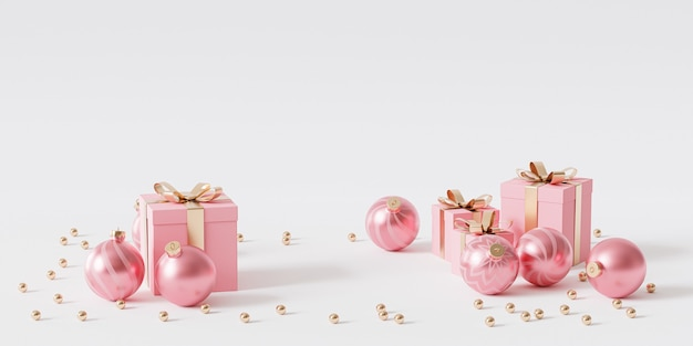 Rosa geschenkboxen mit goldenem band und kugeln auf weißem hintergrund, 3d-rendering