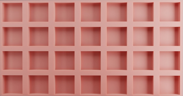 Rosa gitterwandhintergrund. brett- und lattenakzentwand. 3d-rendering