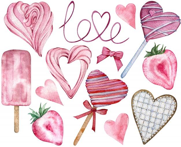 Rosa glückliche valentinstag-süßigkeits-herzen. von hand gezeichnete herzförmige süße elemente des aquarells.