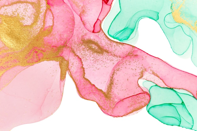 Rosa, grüne und goldene abstrakte flecken der alkoholtinte