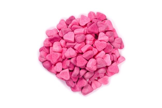 Rosa gummibonbons. ansicht von oben. gelee süßigkeiten. isoliert auf weißem hintergrund. Premium Fotos