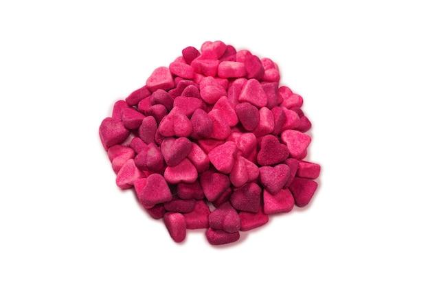 Rosa gummibonbons. ansicht von oben. gelee süßigkeiten. isoliert auf weißem hintergrund.