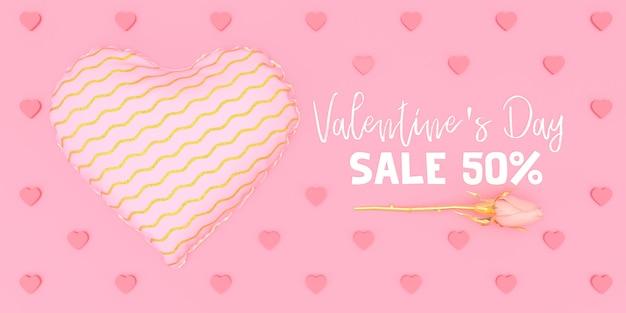 Rosa herz mit mustereinkaufsillustrations-valentinstag auf rosa hintergrund 3d übertragen