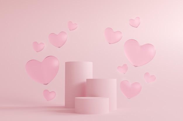 Rosa hintergrund des abstrakten valentinstags, mock-up-podium mit minimaler szenengeometrieform für kosmetische produktanzeige.