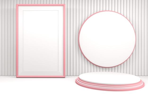 Rosa hintergrund-wiedergabe des valentinstags, podium und minimale rosa herzszene. 3d-rendering