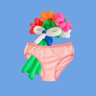 Rosa höschen und ballonblumen