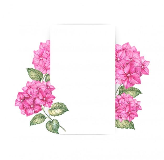 Rosa hortensieblumen, die einen leeren rahmen verzieren