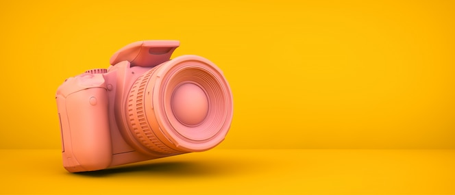 Rosa kamera auf gelbem raum, 3d-wiedergabe