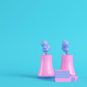 Rosa kernkraftwerk auf hellblauem hintergrund