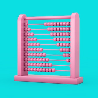 Rosa kinderspielzeug gehirnentwicklung abakus im duotone-stil auf blauem hintergrund. 3d-rendering
