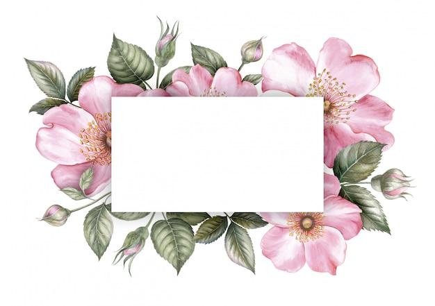 Rosa kirschblüte-blumenrahmen