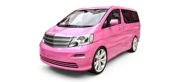 Rosa kleiner minivan für den transport von personen. dreidimensionale darstellung auf einer glänzend weißen fläche