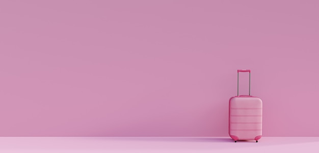 Rosa koffer auf rosa hintergrund. konzept des tourismus und des reisens. minimaler stil. 3d-rendering