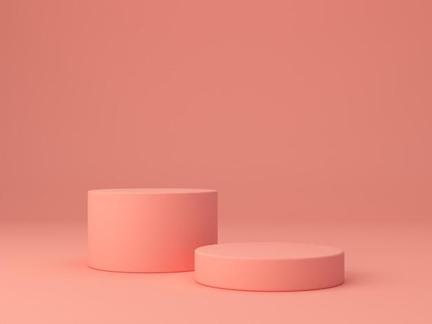 Rosa korallenformen auf einem abstrakten korallenhintergrund, minimalem zylinder und geometrischem podium