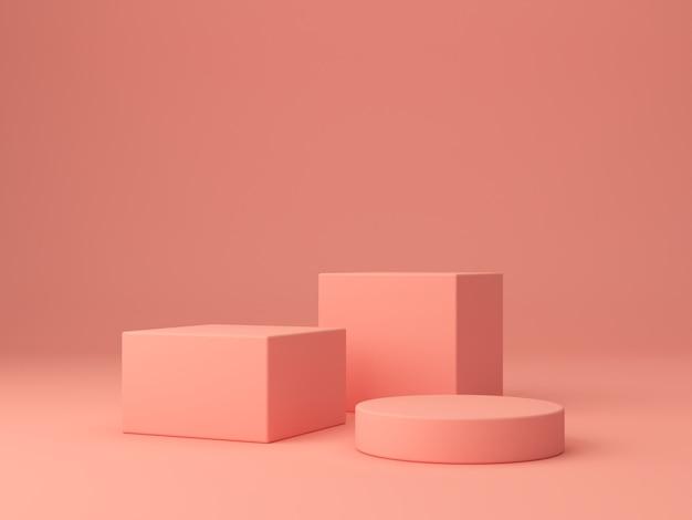 Rosa korallenformen auf einem korallenroten abstrakten hintergrund. minimalkästen und geometrisches podium.