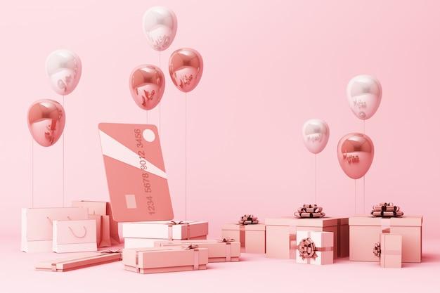 Rosa kreditkarte, die durch viele geschenkboxen und luftballons 3d rendering umgibt