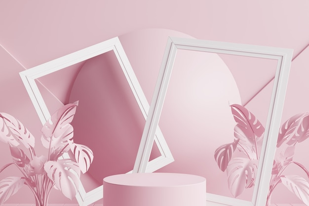 Rosa kreisförmiges podium mit rosa blättern, rosa kugel und weißen rahmen